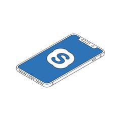 Skype logo on iphone X display isometric outline vector illustration