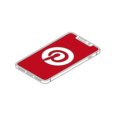Pinterest logo on iphone X display isometric outline vector illustration