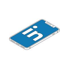 linkedin logo on iphone X display isometric outline vector illustration