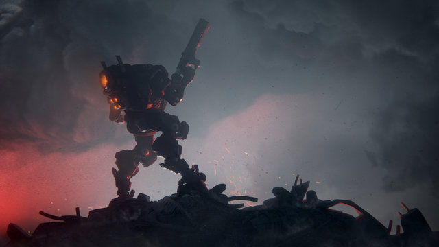 3d illustration of an action scene of a sci-fi mech standing on the ruins of the city in an attacking pose with an assault gun in one hand against storm clouds. Apocalypse concept. Storm trooper robot