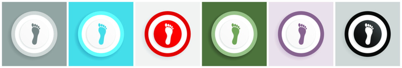 Foot icon set, colorful flat design vector illustrations in 6 options for web design and mobile applications