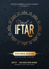 Dawat-E-Iftar celebration template or flyer design with date, time and venue details.