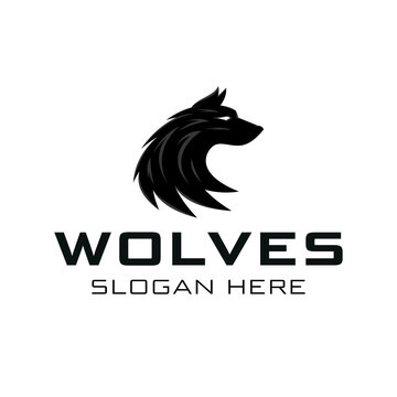 Wolf Head Silhouette logo Icon Template Vector
