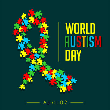Puzzle that forms a caring tape for world autism day on 2 April