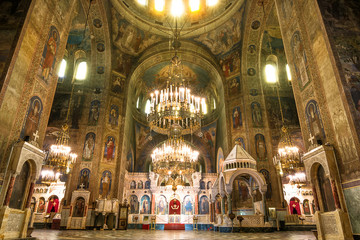Interior of the Cathedral of Saint Alexander Nevsky in Sofia, Bulgaria