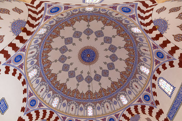 Decorated interior of the dome of the Banya Bashi Mosque in Sofia (Bulgaria)
