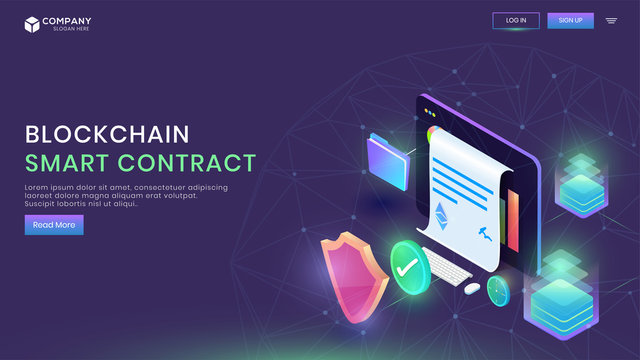 Digital Smart Contract landing page design with isometric concept of electronic equipment, blockchain technology, paper receipt of payment on purple background.