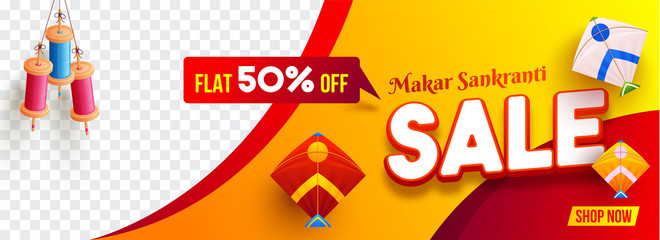 Makar Sankranti Sale banner or header design with flat 50% discount offer, colorful kites and string spool hang on abstract background with space for your product image.