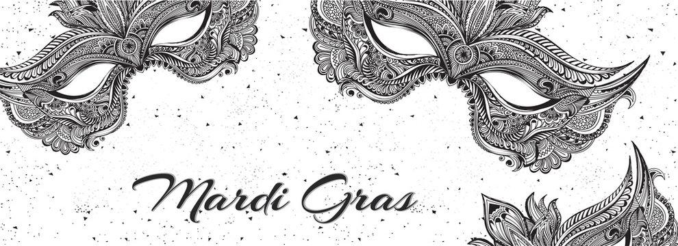Hand drawn party mask illustration on white background for Mardi Gras carnival header or banner design.