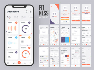 Fitness app material design with flat ui web screens including sign in, create profile, workout and statistics features for mobile apps and responsive website.