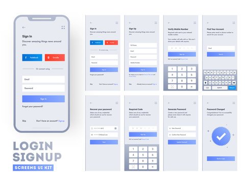 Set of mobile login screens with UI for applications including Account Sign In, Sign Up, and Lock Screen for Mobile Apps and Responsive website.