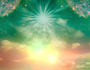 Wall Mural - abstract angel spiritual mystic mystical magic magical religious background with stars and divine angelic light