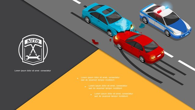 Isometric Car Accident Composition