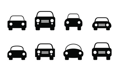 Car silhouette icon set. Vector illustration image. Simple flat transportation logo.