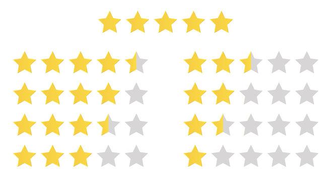 Stars rating set. Gold five star rating icon set. Vector illustration