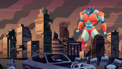 Giant Robot in City