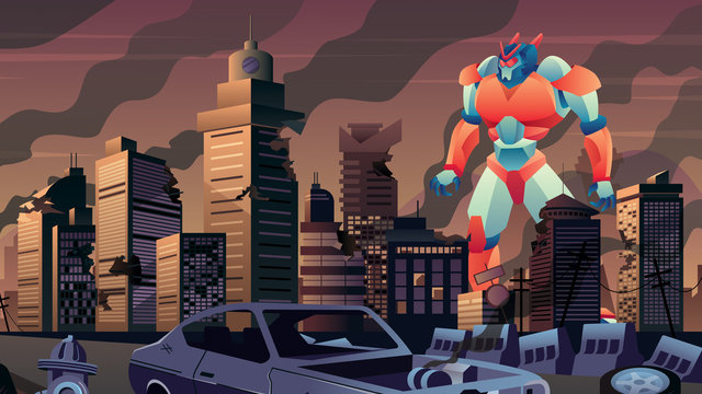 Giant Robot in City