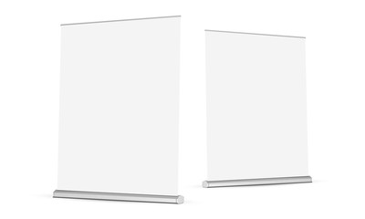 Two wide roll-up banners mockups isolated on white background. Vector illustration
