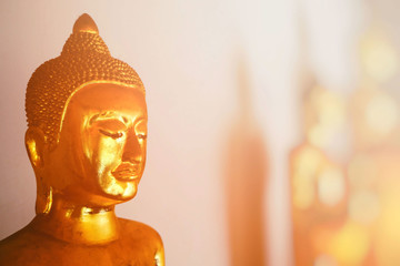 Ancient Buddha Image with Space for Texture and Light Leak Background.