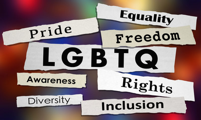 LGBTQ Lesbian Bisexual Gay Transgender Questioning News Headlines 3d Illustration