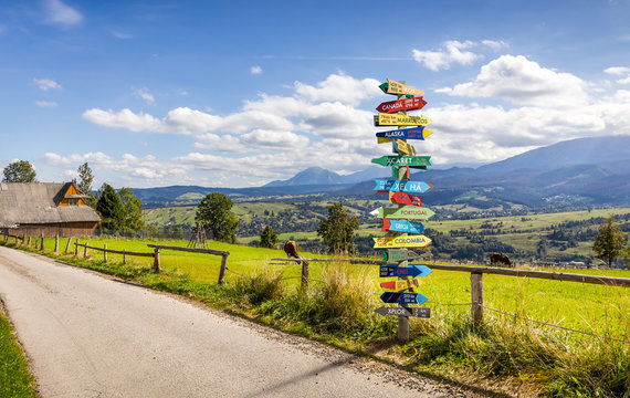 Different world directions signpost