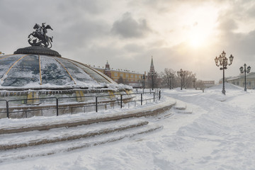 Fototapete - Manezhnaya Square in the winter, Moscow, Russia