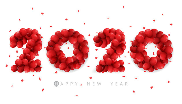 Vector Happy New Year 2020  text design with red balloon concept isolated on white background.