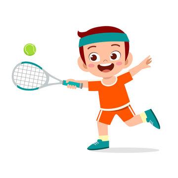 happy cute kid boy play train tennis