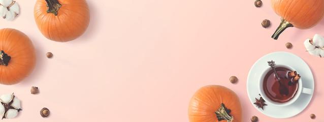 Black tea with pumpkins and cinnamon sticks - overhead view