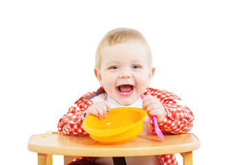 little child with plate and spoon isolated on white background