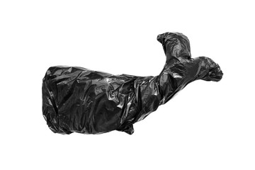 Black garbage bag in form of blue whale's silhouette. Isolated element for design- concept of saving the environment and plastic pollution of the world ocean