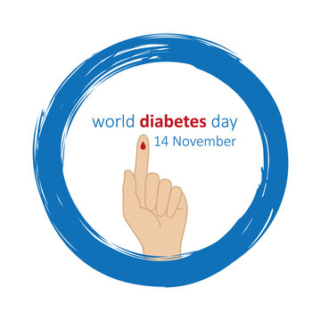 blue circle and finger with blood drop world diabetes day 14 november vector illustration EPS10
