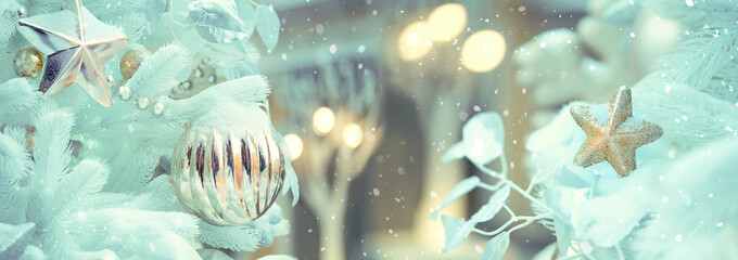 Merry Christmas and happy New Year concept. elegant glamorous new year decor and beautiful Christmas tree. Winter holiday season. banner, copy space.