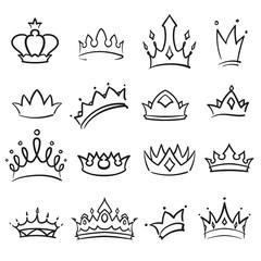 Simple hand drawing crown set