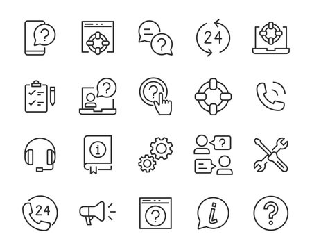 set of support icons, communicaton, help, call, service