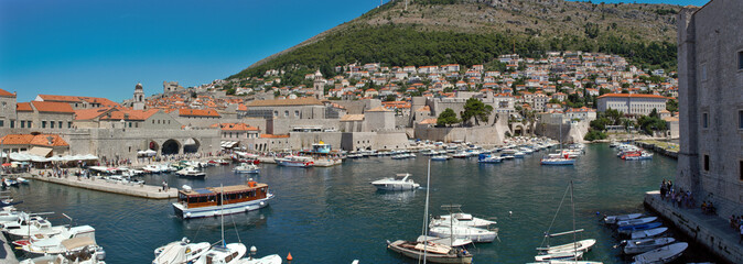Dubrovnik, Croatia: Panorama view of the Old Port. Dubrovnik is a Croatian city on the Adriatic Sea. It is one of the most prominent tourist destinations in the Mediterranean Sea