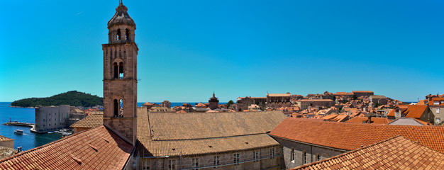 Rooftops in Dubrovnik's Old City with the Dominican monastery