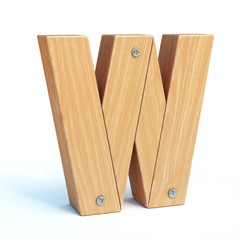 Wood font, 3d alphabet made of wooden parts, 3d rendering, letter W