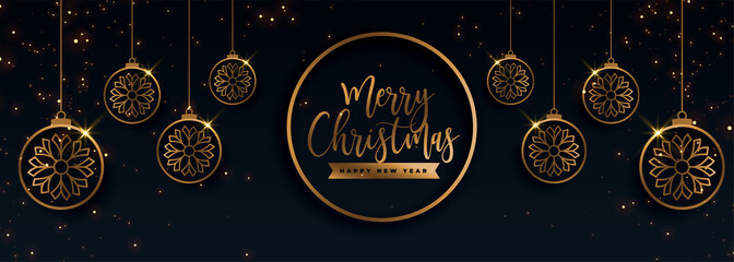 premium golden merry christmas decorative banner design