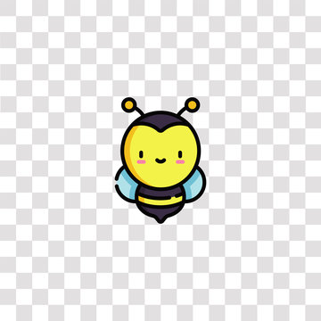 bee icon sign and symbol. bee color icon for website design and mobile app development. Simple Element from nature collection isolated on black background.