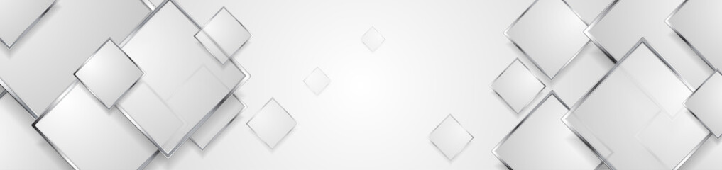 Fotobehang - Hi-tech geometric banner design with silver squares. Abstract metallic background. Vector illustration