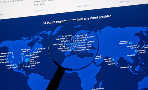 Microsoft Azure regions map