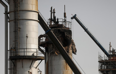 A view shows the damaged site of Saudi Aramco oil facility in Abqaiq