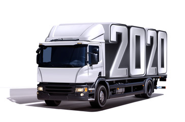 3d illustration of truck delivers 2020