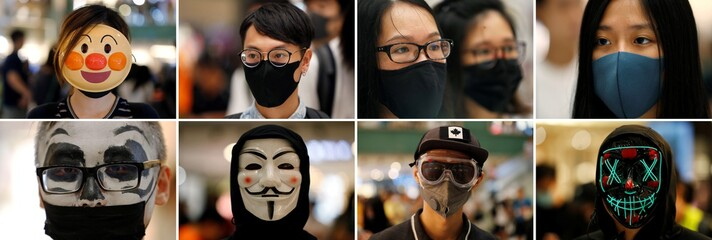 A combination photo of anti-government protesters wearing a mask during a demonstration at New Town Plaza shopping mall in Hong Kong