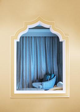 arabesque classical style window gypsum work of an Arabia interior room decor