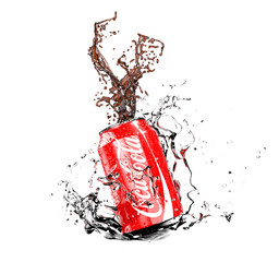 Illustration of Coca-Cola can with splash isolated on white background