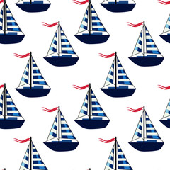 seamless pattern with a picture of a yacht, a boat