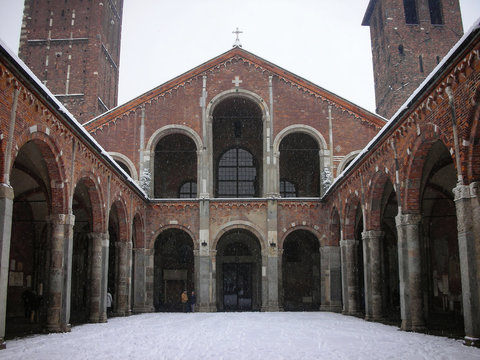 The Basilica of Sant'Ambrogio One of the most ancient churches in Milan Italy, it was built by St. Ambrose in 379–386, in an area where numerous martyrs of the Roman persecutions had been buried.