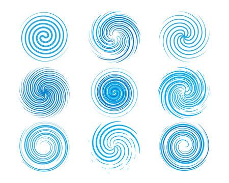 Design elements spiral motion twisted swirl set